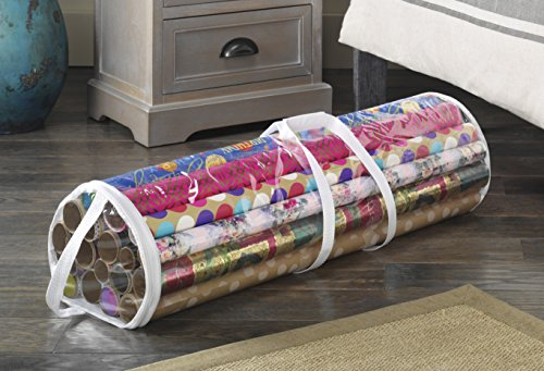 amazoncom whitmor clear gift wrap organizer zippered storage for 25 rolls home kitchen