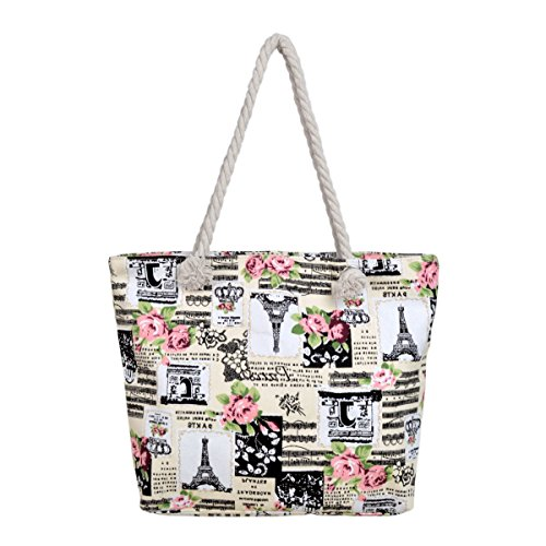 Paris Eiffel Tower Music Notes Floral Print Canvas Tote Shoulder Bag Handbag, Yellow