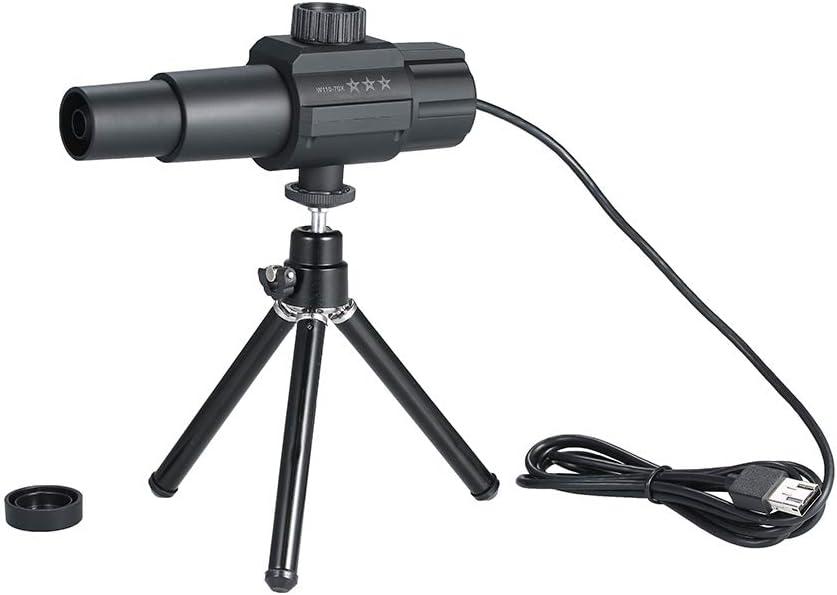 Adaskala USB Telescopio digital inteligente Monocular 2MP 70X Ampliación de zoom Cámara escalable ajustable con trípode Soporte para fotografiar Grabación en video para aves Animales salvajes Observac