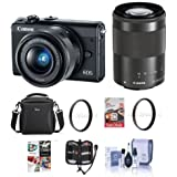 Canon EOS M100 Mirrorless Camera with EF-M 15-45mm f/3.5-6.3 IS STM and EF-M 55-200mm f/4.5-6.3 IS STM Lenses, Black - Bundle with Camera Bag, 16GB SDHC Card, 49/52mm UV Filter, Software Pack and More
