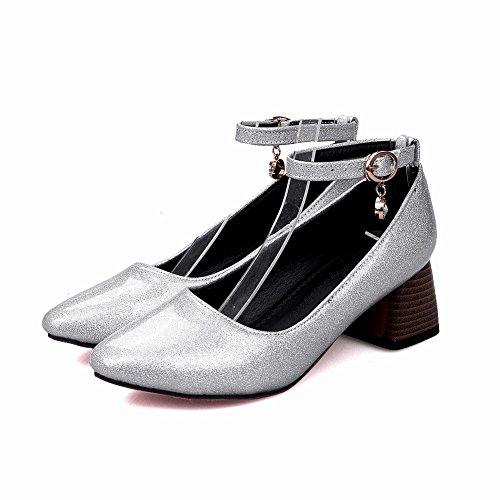 Carolbar Femmes Boucle De Cheville Boucle Orteil Carré Lolita Cosplay Mary Janes Chaussures Argent
