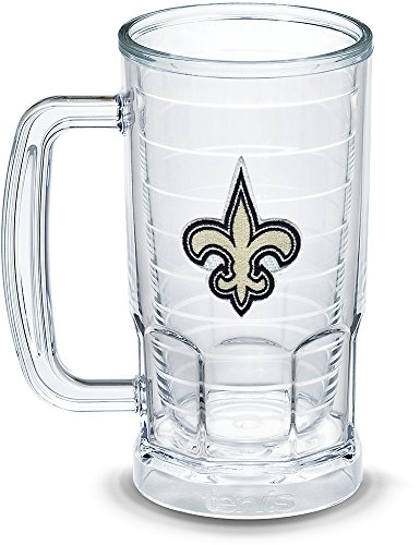 Tervis 1303302 NFL New Orleans Saints Primary Logo Insulated Tumbler with Emblem, 16 oz, Clear