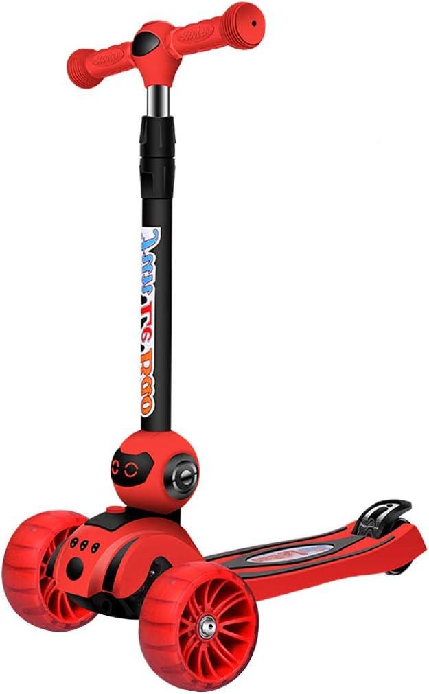 JY-キックボード 子供のためのプッシュスクーター - キックアンドゴー、リーン2ターン、ステップ4ブレーキ付きデラックスアルミ3輪グライダーフルフラッシュ1足スクーター4ラウンドのフルフラッシュカラフル年齢2-12歳 赤