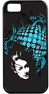 iPhone 5 5S Cases Customized Gifts Cover Woman's serious face peering through black background with light blue abstract design Case for iPhone 5 5S