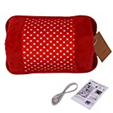 WITERY Hand Warmer - Portable Rechargeable Electric Heat/Hot Water Bag with Soft Velvet Cover - Ideal For Warm Your Hands/Pain Relief/Muscle Relaxation & Comfort Use and As Pillow Red