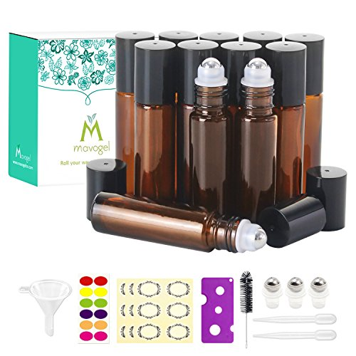 12, 10ml Roller Bottles for Essential Oils - Amber, Glass with Stainless Steel Roller Balls by Mavogel (3 Extra Roller Balls, 30 Pieces Labels, Opener, Funnel, Dropper, Brush Included)