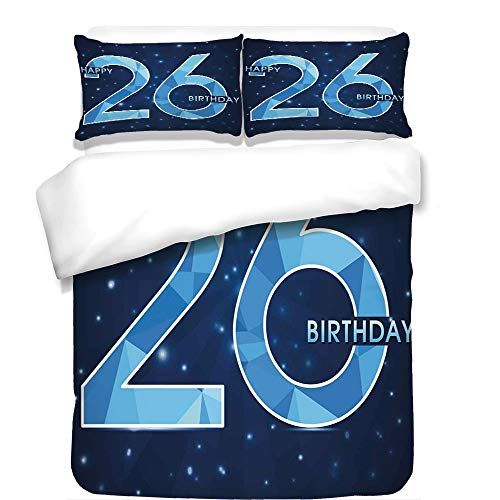 iPrint 3Pcs Duvet Cover Set,26th Birthday Decorations,Digital Geometric Polygon Fractal Style Wishes Age Display,Dark and Sky Blue,Best Bedding Gifts for Family/Friends (Fractal Rib)