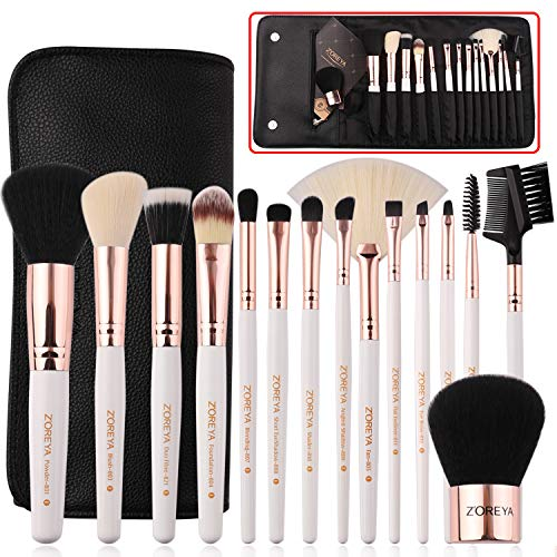 Makeup Brushes Set 15pc Rose Gold Make Up Brush Set Premium Synthetic Foundation Powder Concealers Eye Shadows With Professional Easy Travel Vegan Leather Case Bag Organizer (Best Way To Wash Makeup Brushes)