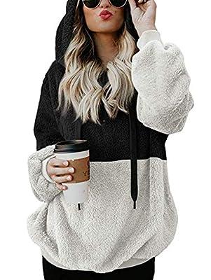 TEMOFON Women's Long Sleeve Zipper Casual Hooded Sweatshirt Sherpa Pullover Winter Outwear Jackets Coats Sweaters S-XL