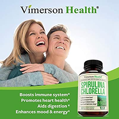 Spirulina Chlorella Organic Green Superfood. Immune Support Supplement. Source of Iron and Protein, Boosts Energy, Supports Cardiovascular Health. Antioxidant Properties for Detox and Cleanse