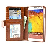 Navor Samsung Galaxy Note 3 Book Style Folio Wallet Leather Case with Monay Card Pocket with Clear Screen Protector (Brown)