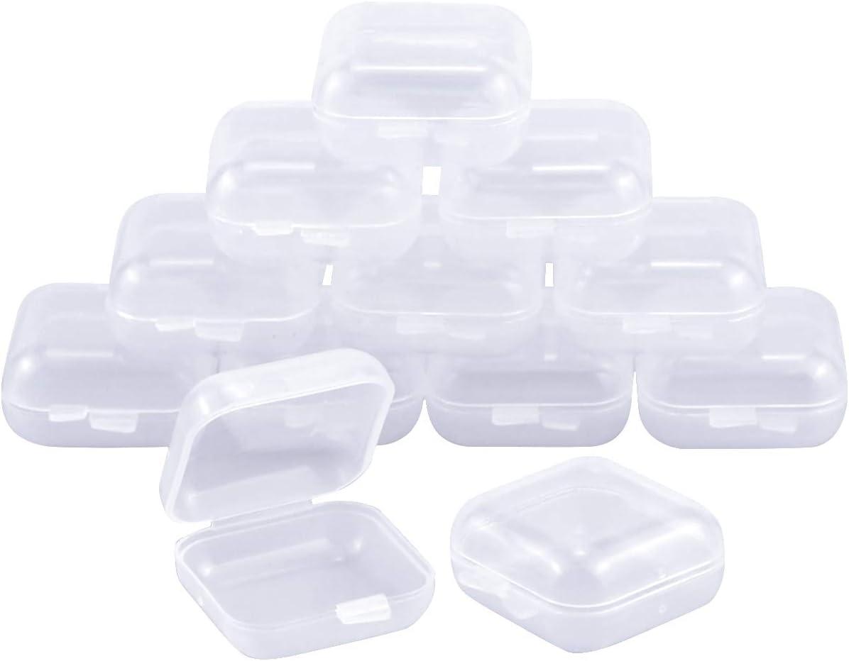Dokpav 12pcs Cajas de plastico Transparentes pequeñas, Cajas de plastico con Tapa, Tapones Caja Protectores para oídos Case, para Pescado Ganchos,Artículos, Pastillas, Hierbas, Cuentas Pequeñas