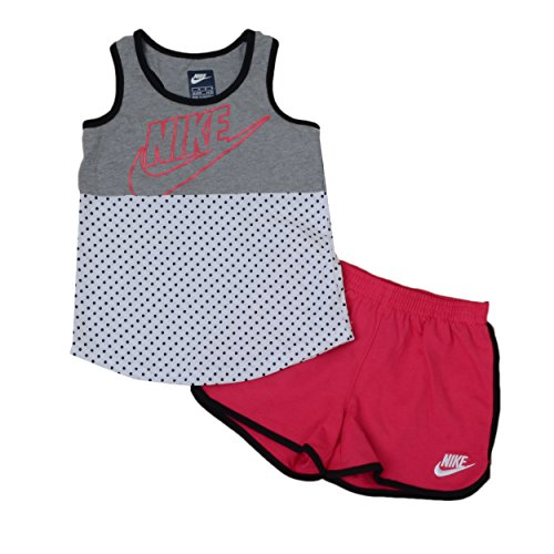 NIKE Little Girls' 2 Piece Futura Dot Tank and French Terry Tank Top with Athletic Shorts Set Size 6X (Nike Womens Terry Shorts)