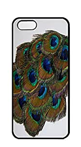 Design Phone Protective Cover case iphone 5s black - Green Peacock_Feather