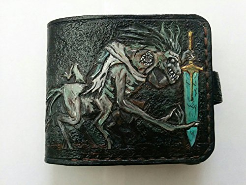 Men's 3D Genuine Leather Wallet, Hand-Carved, Hand-Painted, Leather Carving, Custom wallet, Personalized wallet, Bloodborne, The Holy Blade, Ludwig, The Old Hunters by Theodoros
