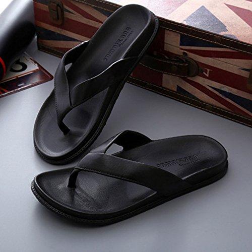 Pantuflas Baño al Flops Sandalias de Antideslizante Beach Clip Negro Goma Resistentes Desgaste Toes Suela Zapatillas Home Men's Flip Summer zwOt0