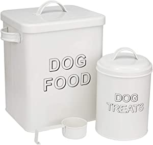 Geyecete 2PC Metal Vintage Classic Retro Style Dog Food Treats Storage Container & Scoop Set