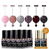 Maphie Gel Nail Polish Sets 6 Colours Glitter UV LED Soak Off Gel Varnish Manicure with FREE TOP BASE COAT SET 6ml