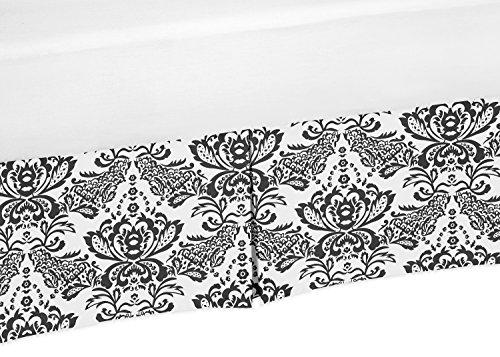 (Sweet Jojo Designs Black and White Damask Crib Bed Skirt Dust Ruffle for Girls Sophia Collection Baby Bedding Sets)