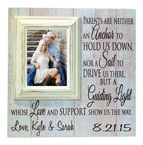 Picture Frame Personalized for Parents of Bride or Groom, Wedding Thank You Gift for Parents 5x7 Mounted Frame on Custom 16x16 Sign- Madi Kay Designs
