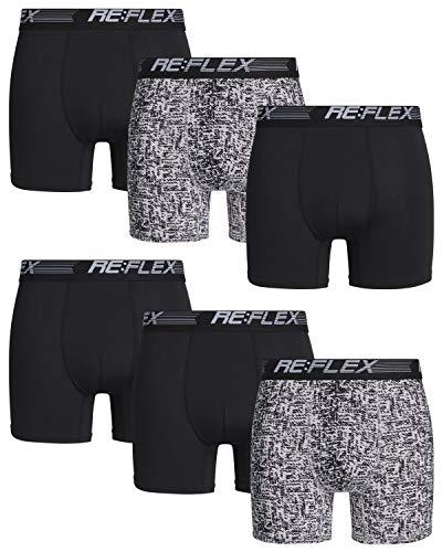Re:Flex Men\'s Active Performance Boxer Briefs Underwear (6 Pack) (Medium, Silver/Black)'