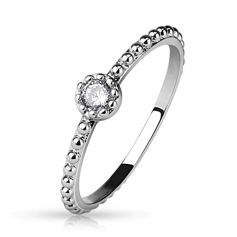 Bungsa Damenring mit Kristall Stein Silber (Ring Damen Fingerring Partnerringe Verlobungsringe Trauringe Brass Rhodium) Ring-37n