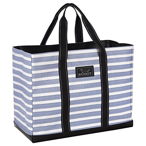 SCOUT Original Deano Large Tote Bag, For The Beach, Pool or Travel, Folds Flat, Water Resistant, Sturdy Base, Interior Key Ring Oxford Blues