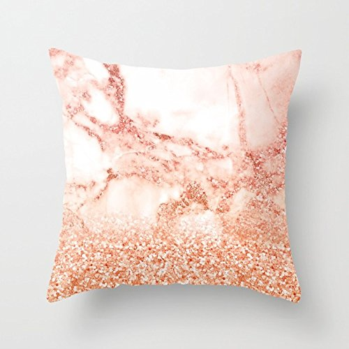 (FJPT Throw Pillow Cover Sparkly Peach Copper Rose Gold Ombre Bohemian Marble Creative Decorations for Sofa Bed Cotton Square Stand Size Pillowcase 18x18 Inch)