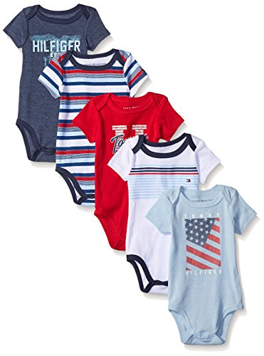 tommy-hilfiger-baby-boys-short-sleeved-striped-and-solid-bodysuits-navy-red-0-3-months-pack-of-5