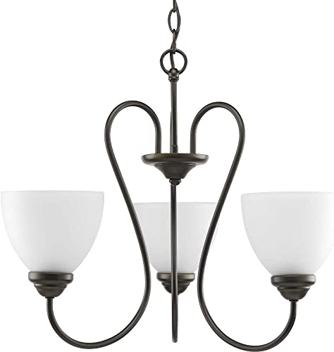 Progress Lighting P4664-20 Transitional Three Light Chandelier from Heart Collection Dark Finish, Antique Bronze