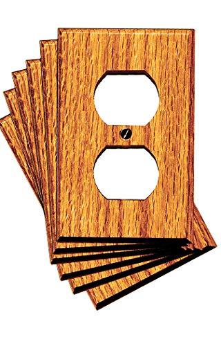 Runwireless Traditional Light Oak Wood, Switch plate, Wall plate, Cover, 4-430 (Duplex 4-430D Pack of 6)
