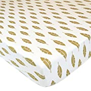 American Baby Company 100% Cotton Percale Fitted Crib Sheet for Standard Crib and Toddler Mattresses, Sparkle Gold Leaves