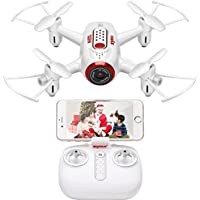 Fytoo FPV Mini Pocket RC Drone With Camera Syma X22W Quadcopter RTF Helicopter Gravity Sensor Nano Drone Auto Hover Function Headless Mode 2.4Ghz 6 Axis Gyro 4 CH for Kids (White)