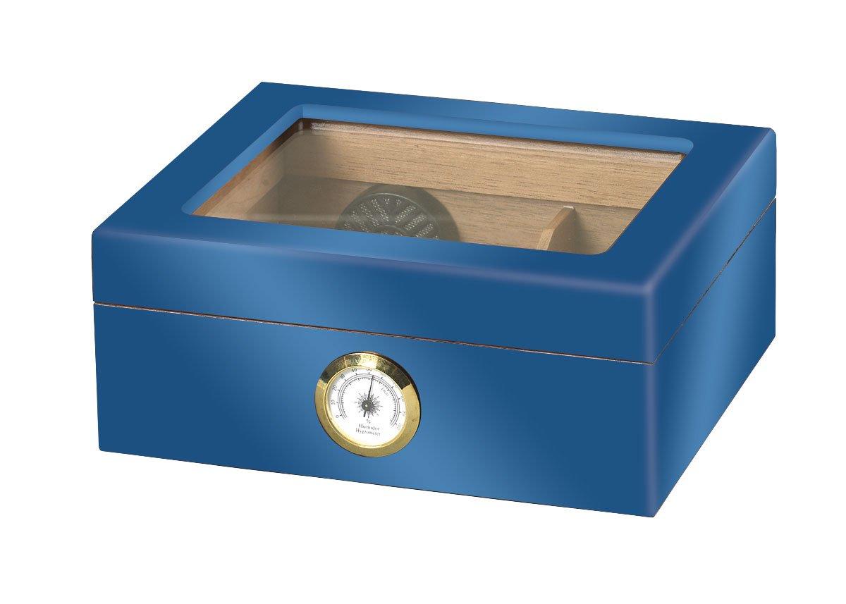Quality Importers ガラストップ葉巻き貯蔵箱 ブルー HUM-25HYG B01ACY1HC8 ブルー ブルー