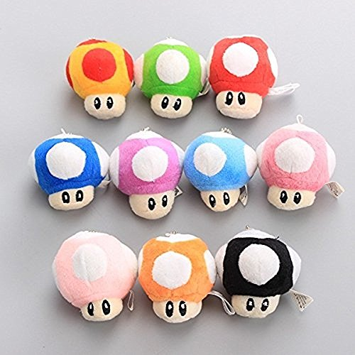 (Super Mario Plush 2.5 Inch / 6cm Mushroom Key Chain 10pcs Doll Stuffed Animals Figure Soft Anime Collection Toy)