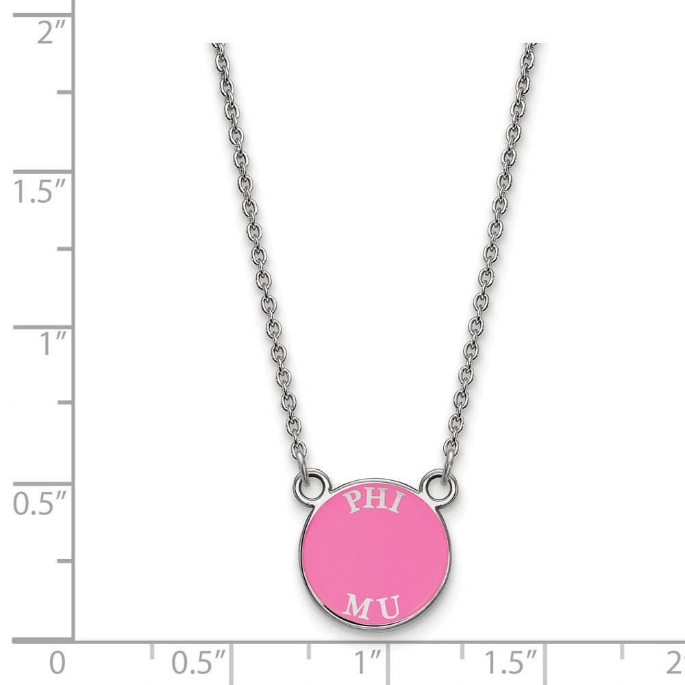 Solid 925 Sterling Silver Phi Mu Extra Small Enl Pendant with Necklace 12mm