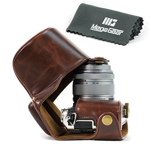 megagear-mg444-ever-ready-protective-leather-camera-case-bag-for-olympus-e-pl7-camera-dark-brown-