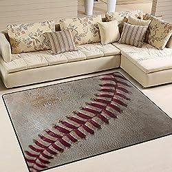 ALAZA Vintage Baseball Ball Sport Area Rug Rugs for Living Room Bedroom 7' x 5'