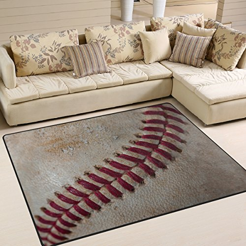 (ALAZA Vintage Baseball Ball Sport Area Rug Rugs for Living Room Bedroom 5'3 x 4')