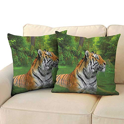RenteriaDecor Tiger,Travel Pillow Case Black Striped Large Cat from Siberia Swimming in The Lake in The Forest 24
