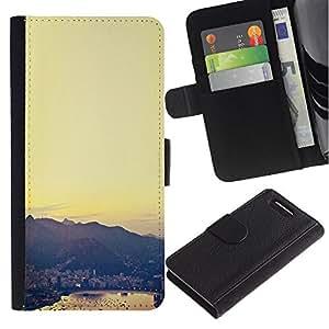 For Sony Xperia Z3 Compact Case , City View Sea Harbor Sunset - la tarjeta de Crédito Slots PU Funda de cuero Monedero caso cubierta de piel