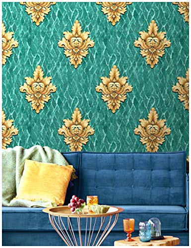 HaokHome 84001 Blooming Vintage Tropical Damask Glitter Wallpaper 20.8