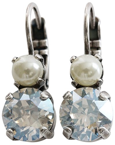 Mariana Silvertone Double Drop Small Crystal Earrings, Moonlight 1190 3911