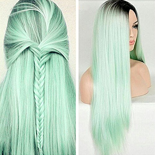 Long Straight Ombre Wig Women Full Head Heat Resistant Natural Party Costume(Graded Mint Green)