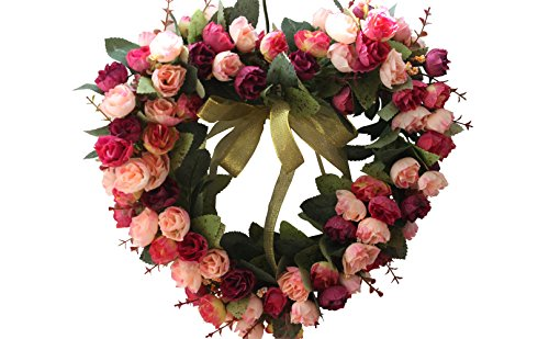 Florist Flower Wreath Rose Garland for Home Wall Wedding Decoration (red pink-heart-shaped)