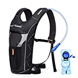 Hydration Backpack with 2L Hydration Bladder, Water Proof Backpack with Reflective, Adjustable Shoulder Straps, Pockets, Hands Free Straw for Cycling, Running, Hiking