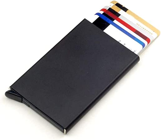 Fucsia e Nero SJUNJIE 2 Pezzi RFID Blocking Porta Carte di Credito 6 Fessure Porta Biglietti da Visita in Alluminio Portafoglio per Viaggi Business ID Assicurazioni Debito Donna e Uomo