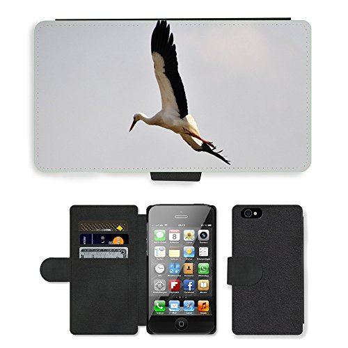 Just Phone Cases PU Leather Flip Custodia Protettiva Case Cover per // M00127646 Stork oiseaux Cigognes Oiseaux Animaux // Apple iPhone 4 4S 4G
