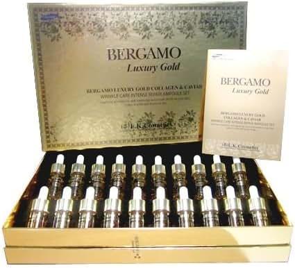 Bergamo Luxury Gold Collagen & Caviar (Wrinkle Care Intense Repair Ampoule) Set 13ml. 20 Bottles.