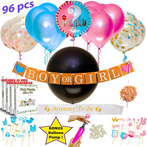 Gender Reveal Party Supplies 126 PCS 36 Gender Reveal Balloon Pink And Blue Confetti Boy Girl Banner Photo Props Decorations Baby Shower No Other Pack Includes Our Bonus Balloon Pump Clips, Ribbon or